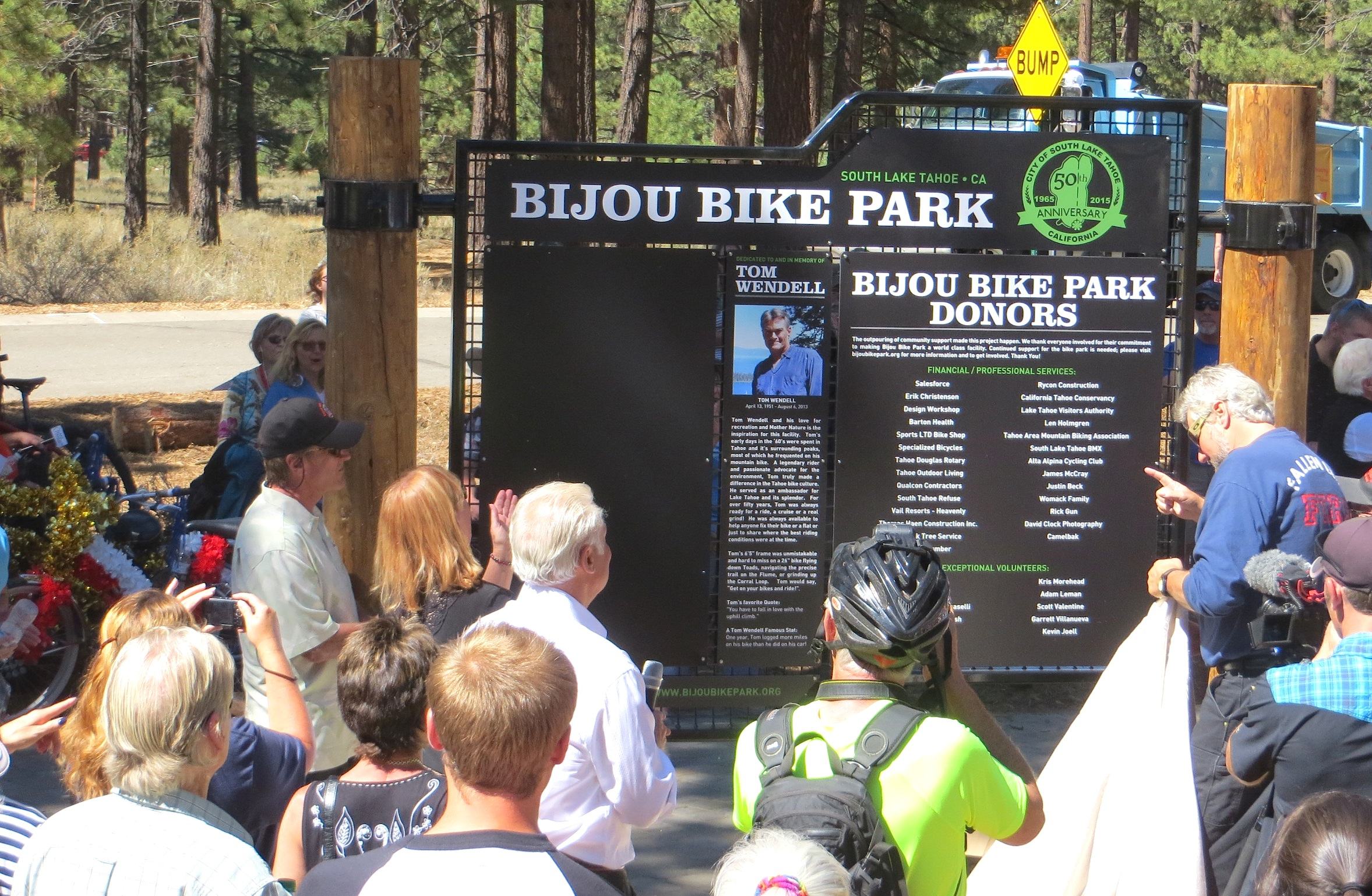 Bijou Bike Park dedication sign
