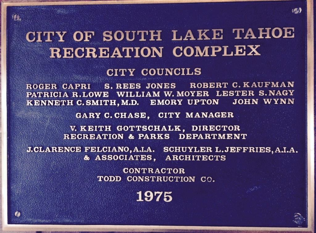 Recreation Swim Complex plaque