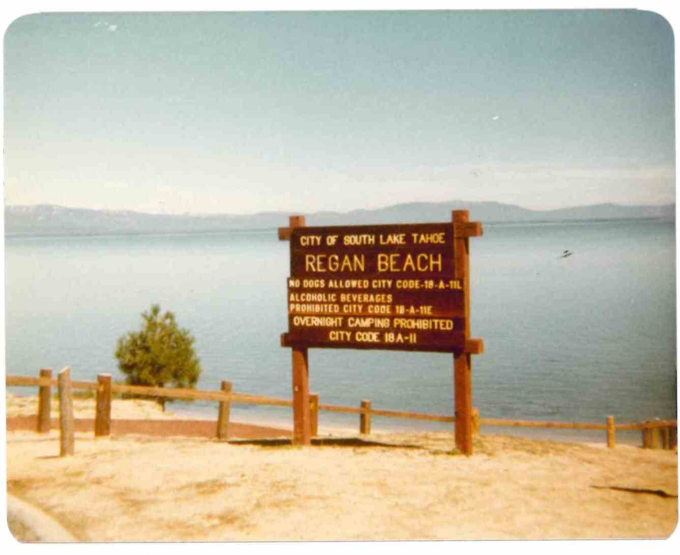 Regan Beach Sign 1981