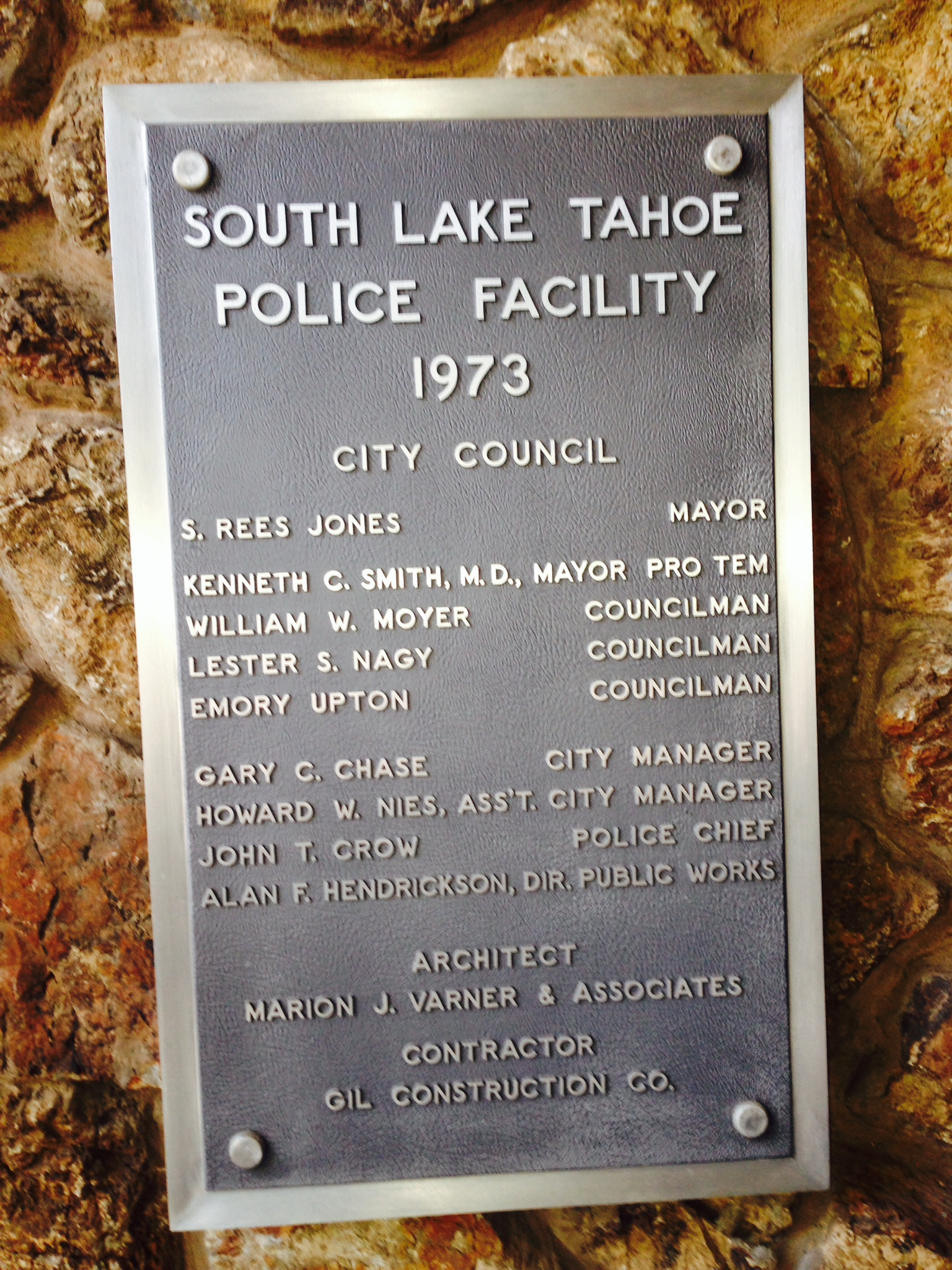 Police Department Dedication Plaque 1973
