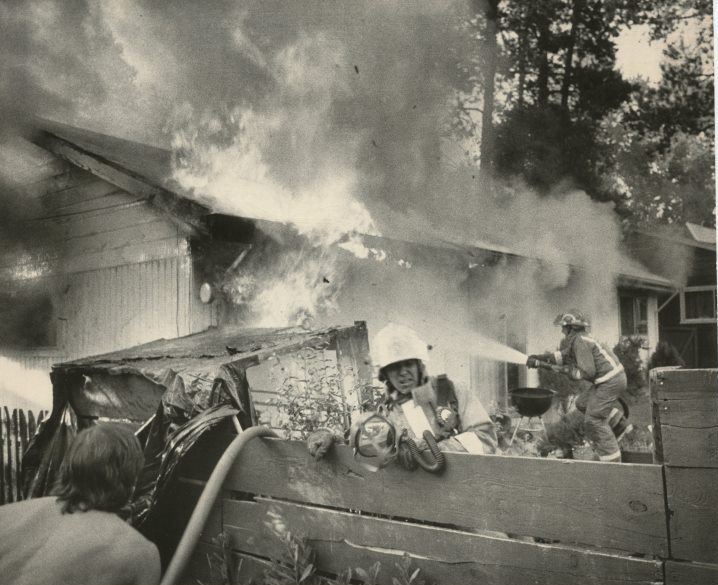 Fire Department responding to House Fire, 1989