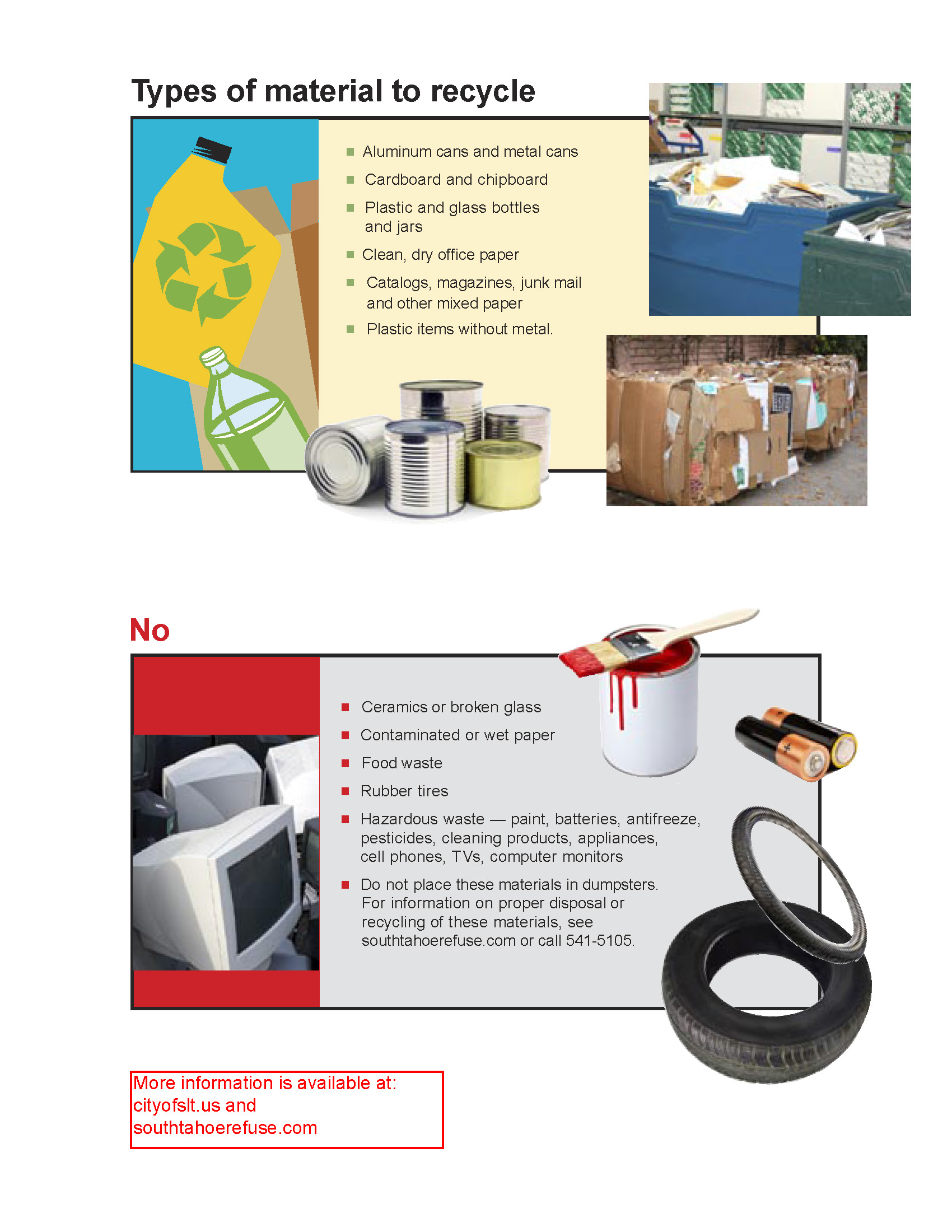 Types of materials to recycle flyer
