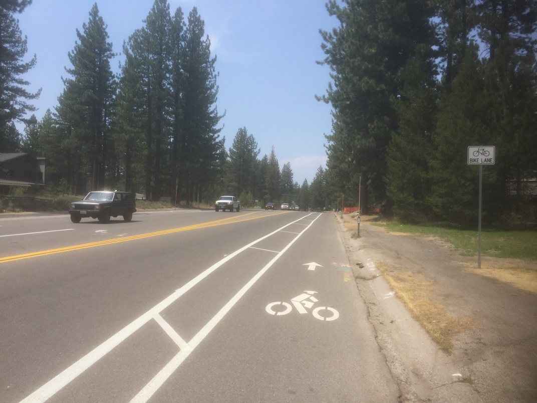 Al Tahoe Re-Striping Pilot Project showing the Class II bike lanes with buffered area striped